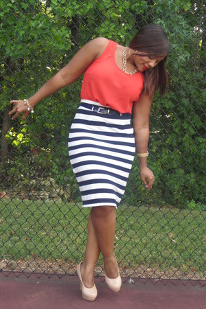 navy knowstyle skirt - carrot orange thrifted blouse - nude GoJane heels