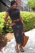 dark gray Express dress - bronze GoJane shoes - bronze thrifted vintage belt