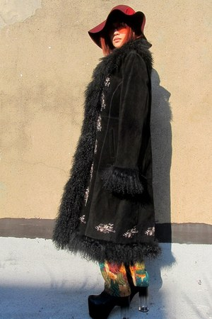 black furry some velvet vintage coat