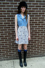 Denim-some-velvet-vintage-dress