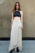 black vinyl vintage shirt - off white lace vintage skirt