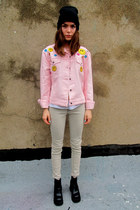 light pink happy face some velvet vintage jacket