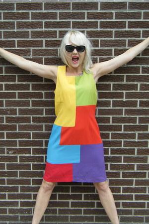 color block some velvet vintage dress