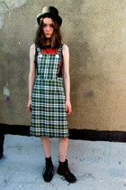 green checkered some velvet vintage dress