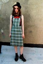 green checkered some velvet vintage dress