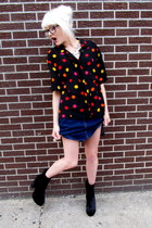 black polka dot some velvet vintage shirt