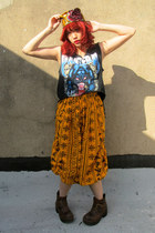 mustard cropped some velvet vintage pants