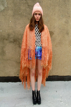 peach fringe some velvet vintage scarf