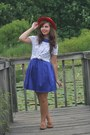 Navy-lulus-dress-brick-red-thirfted-hat-ivory-vintage-shirt