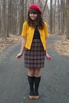 red Target hat - mustard Forever21 jacket - navy Forever21 shirt - black thrifte