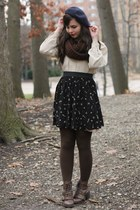 navy Target skirt - dark brown pink and pepper boots