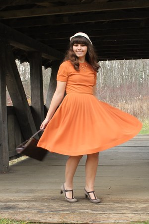 orange thrifted dress - beige thrifted hat - dark brown thrifted purse