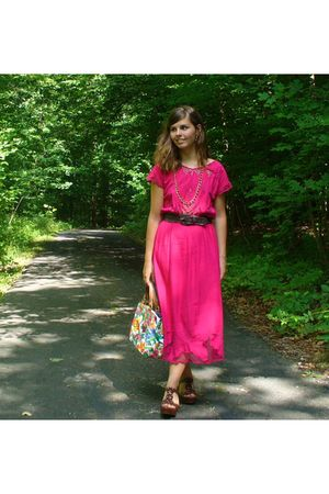 pink dress - brown shoes - gold accessories