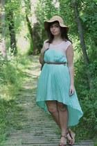 light blue Lulus dress - tan thrifted hat