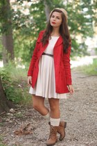 ruby red Forever21 jacket - camel LuLus boots - beige H&M dress