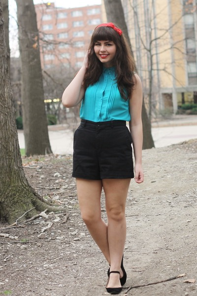 black thrifted shorts - turquoise blue Forever21 blouse - black lulus flats