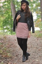 light pink thrifted skirt - black thrifted boots - black H&M jacket