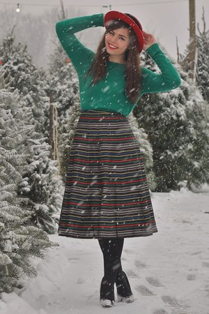 green thrifted sweater - red thrifted vintage hat - black vintage skirt