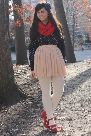 eggshell OASAP skirt - red Target scarf - navy thrifted blouse