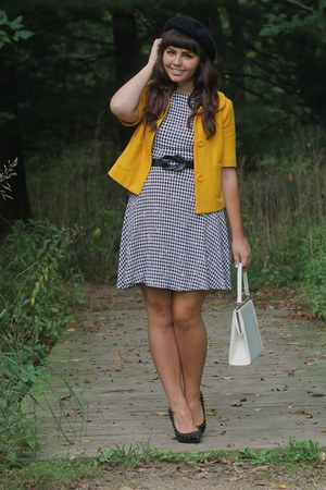 mustard Forever21 coat - black michael antonio pumps