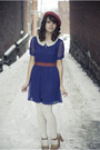Navy-modcloth-dress-ruby-red-target-hat-tan-target-clogs