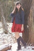 red Forever21 dress - navy vintage jacket