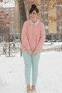 Light-pink-thrifted-sweater-aquamarine-charlotte-russe-pants
