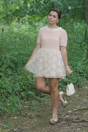 light pink Dahlia dress - off white thrifted purse