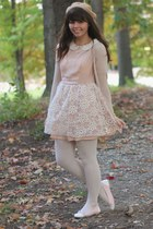 peach Dahlia dress - tan American Apparel hat