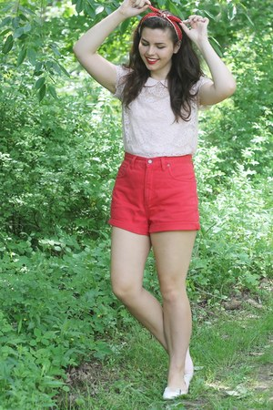 red thrifted shorts - light pink Forever21 blouse
