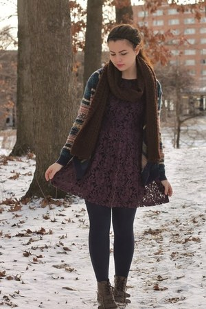maroon Forever21 dress - dark brown pink and pepper boots