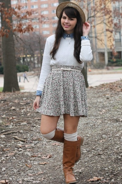 light blue Target shirt - camel Old Navy boots - eggshell thrifted sweater