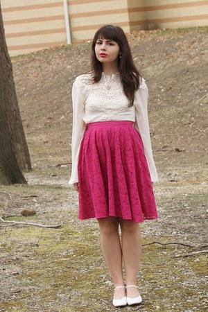 hot pink Forever21 skirt - white LuLus blouse