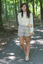 beige thrifted shorts - off white thrifted blouse