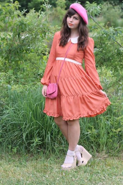 light orange modcloth dress - bubble gum Target hat - pink Fossil purse