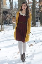 dark brown pink and pepper boots - crimson modcloth dress