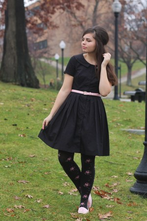 black eShakti dress - light pink thrifted loafers
