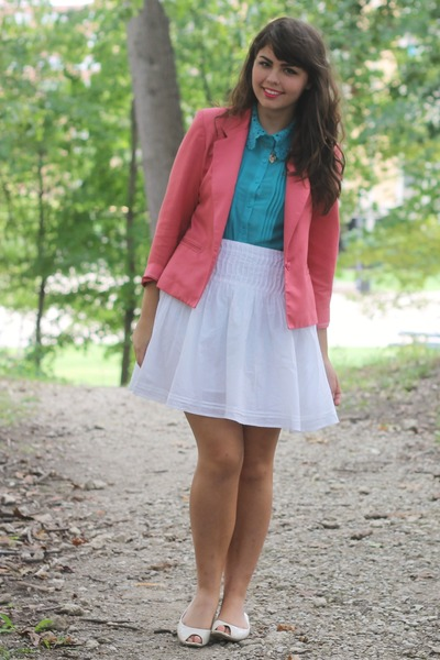 pink thrifted blazer - turquoise blue forever blouse - white thrifted skirt