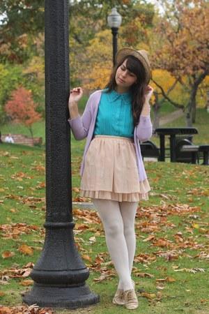 tan OASAP skirt - turquoise blue Forever21 blouse