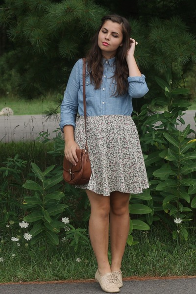 sky blue Target shirt - army green thrifted skirt