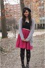 Black-forever21-shirt-hot-pink-forever21-skirt-silver-kohls-cardigan