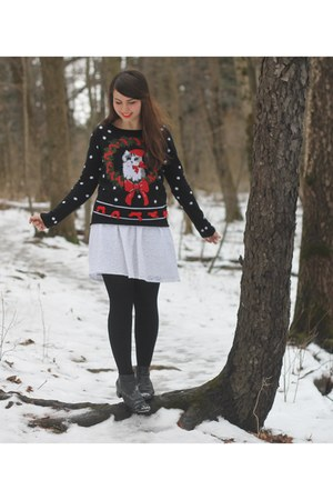 black Target sweater - white delias dress