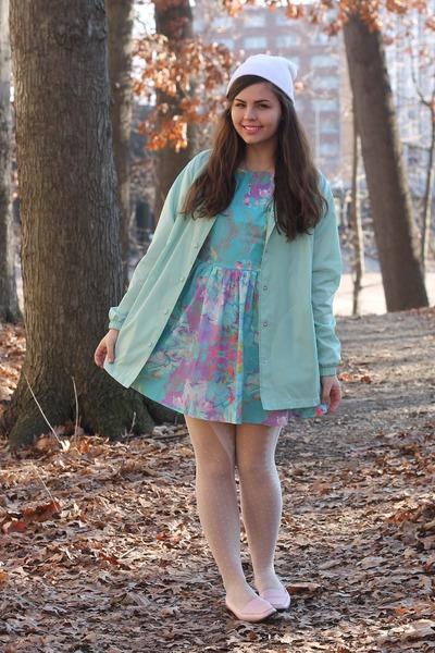 aquamarine thrifted jacket - sky blue Us trendy dress