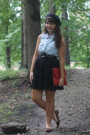 light blue thrifted top - red OASAP bag - black Forever21 skirt