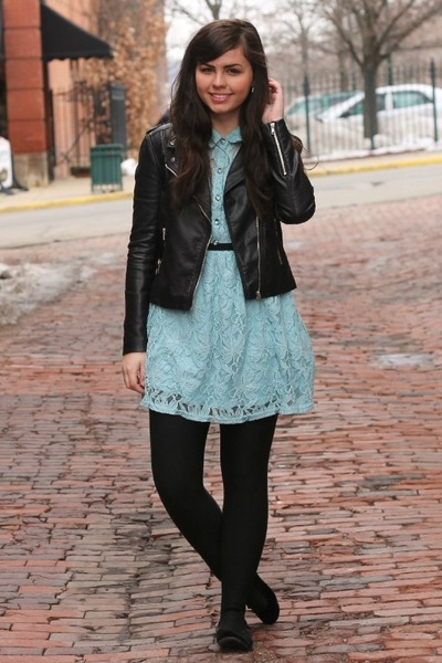 black H&M jacket - light blue Forever21 dress