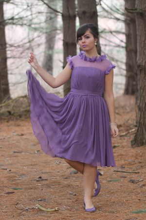amethyst chiffon Edressy dress - amethyst thrifted heels