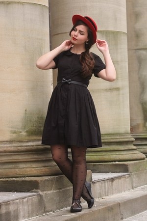 red thrifted hat - black eShakti dress - black OASAP tights