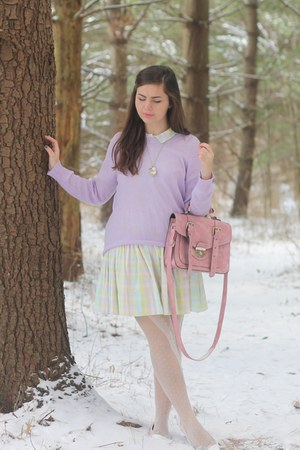 light pink asos dress - light purple LuLus sweater - white OASAP tights