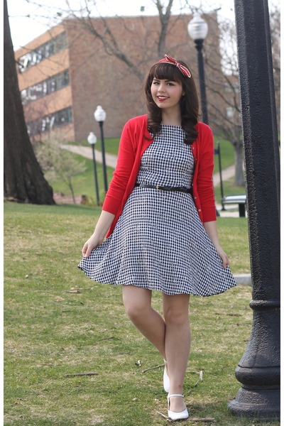red Old Navy cardigan - black thrifted dress - white thrifted heels