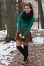 Green-forever21-sweater-black-oasap-scarf-bronze-forever21-skirt